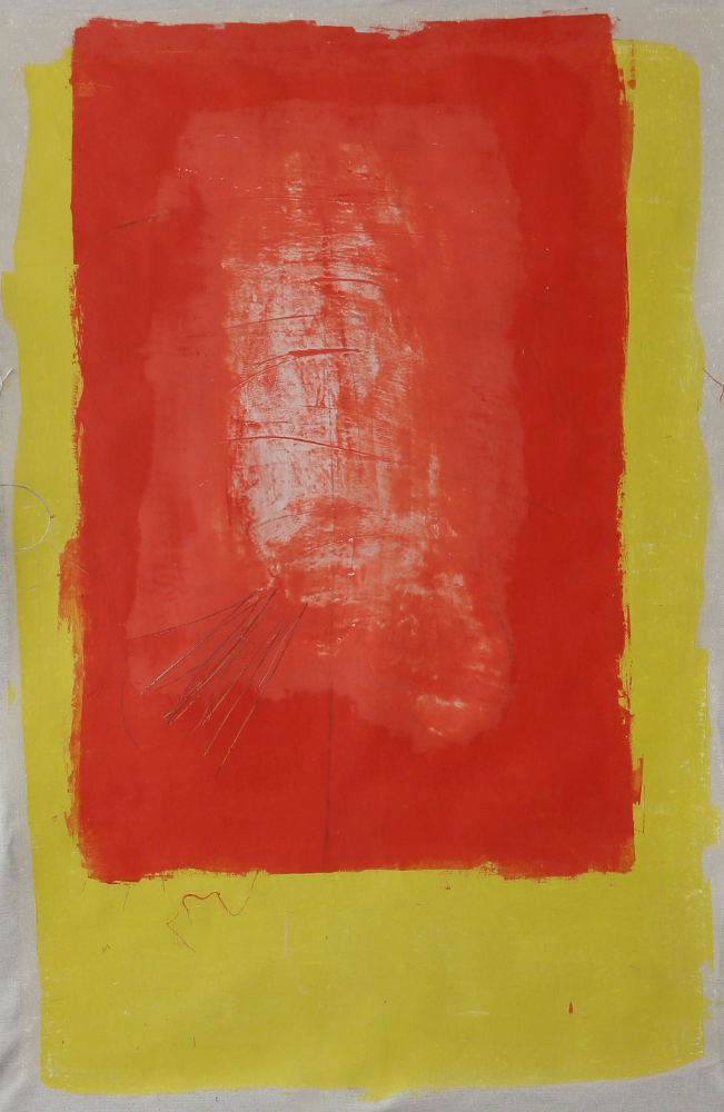 Peinture : à mon corps défendant, huile sur toile libre, 100 X 150 env.