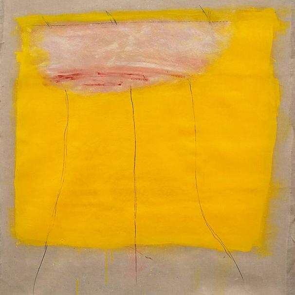 Peinture : les sourires jaunes, huile sur toile libre, 100X100 cm env.